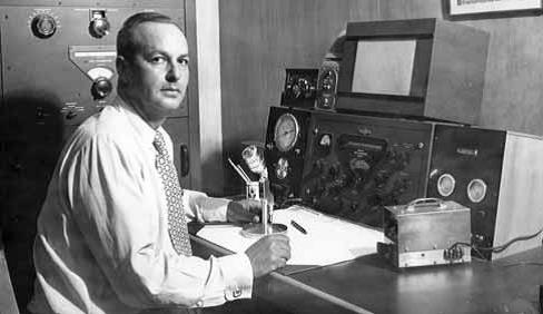 Albert R. Kahn, life-long radio ham and founder of Electro-Voice with his trusty EV630.