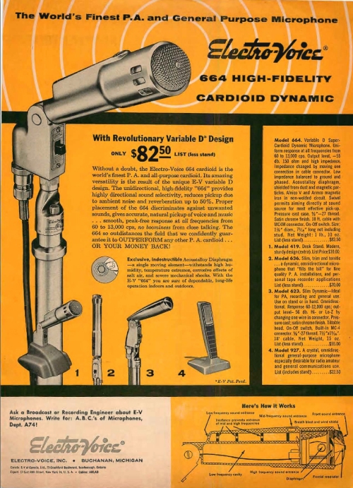 Vintage Advert Electrovoice EV664