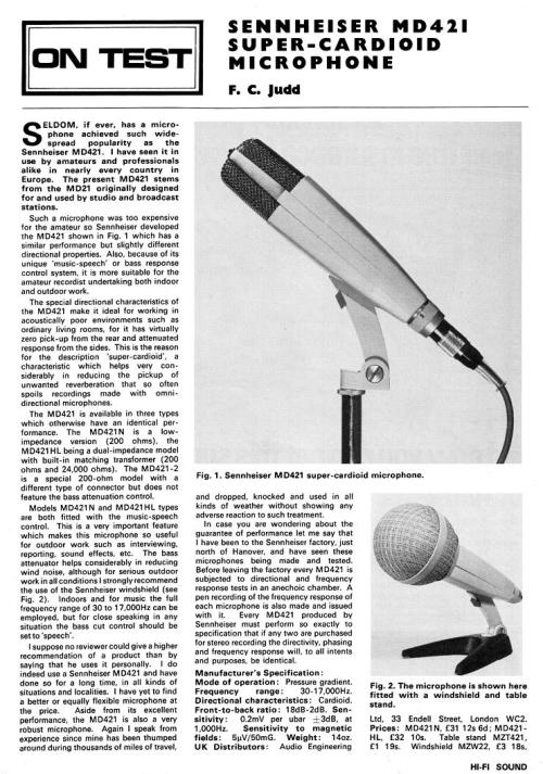 Sennheiser MD421 Review from Hi-Fi Sound Dec 1967