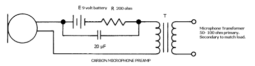 Circuit for powering Carbon Microphones.