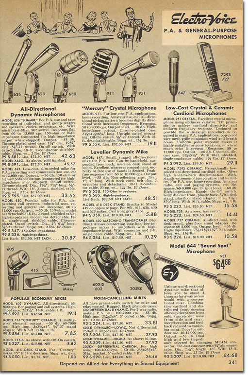 vintage pa microphone martin mitchell s microphones allied catalogue 1960