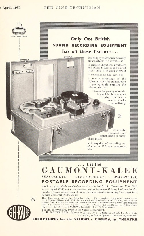 Gaumont-Kalee Portable Recording Equipment
