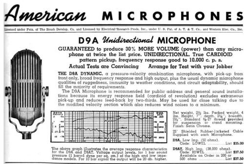 American Microphone Company D9 Advert