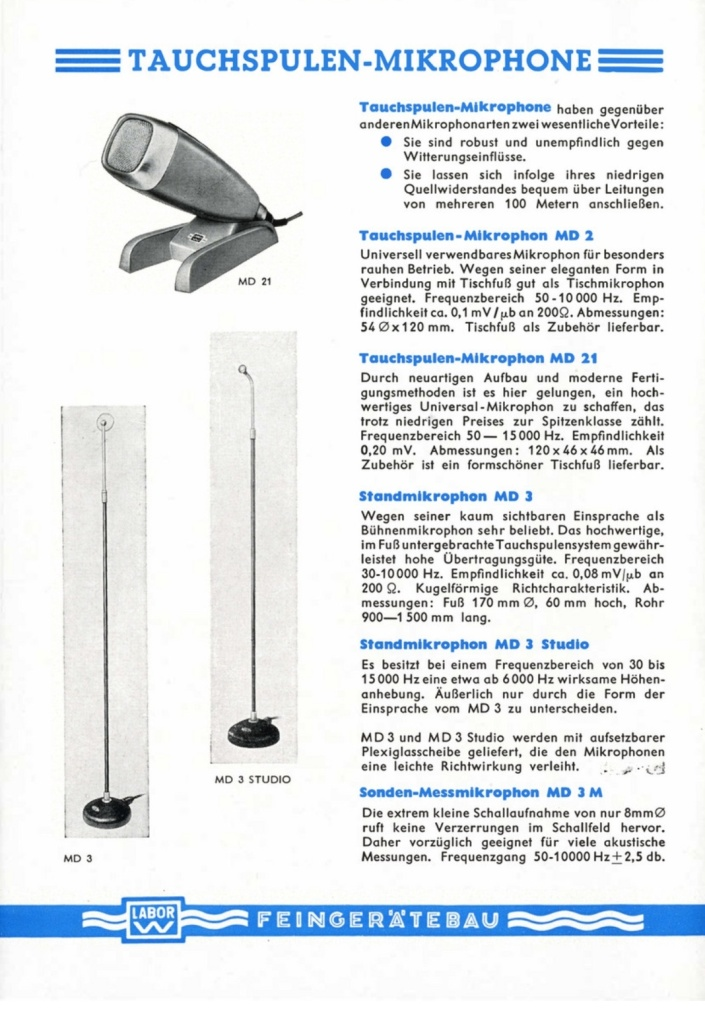 Microphones featured in the 1953 LABOR W Catalogue. Page 1