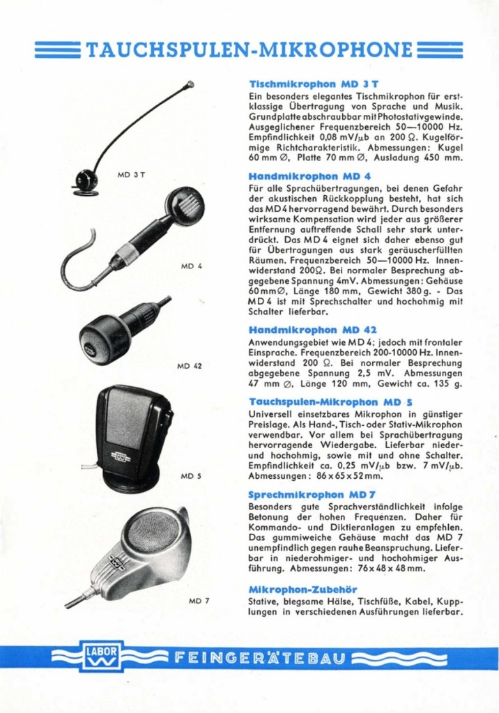 Microphones featured in the 1953 LABOR W Catalogue. Page 2