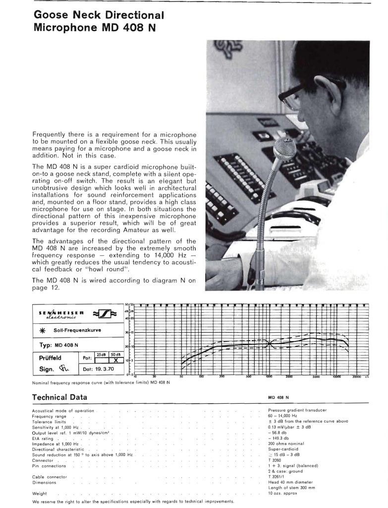 Sennheiser Advert 1969 for MD408N